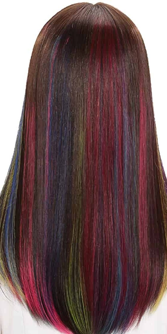 Colored Hair Extensions with Blonde Ombre and Neon Effects