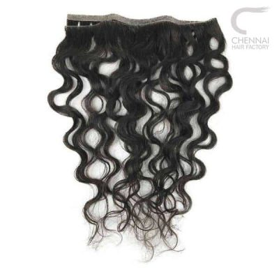 Wavy weft hair extension made from raw human hair