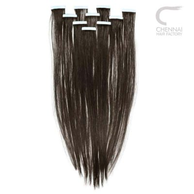 Straight Tape in Extensions made from raw natural human hair